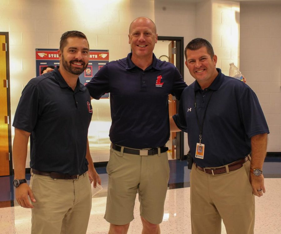 Mr. Kiesel, Mr. Eldredge and Mr. Pryor twinning for Homecoming Spirit week on Tuesday, Sept. 28.