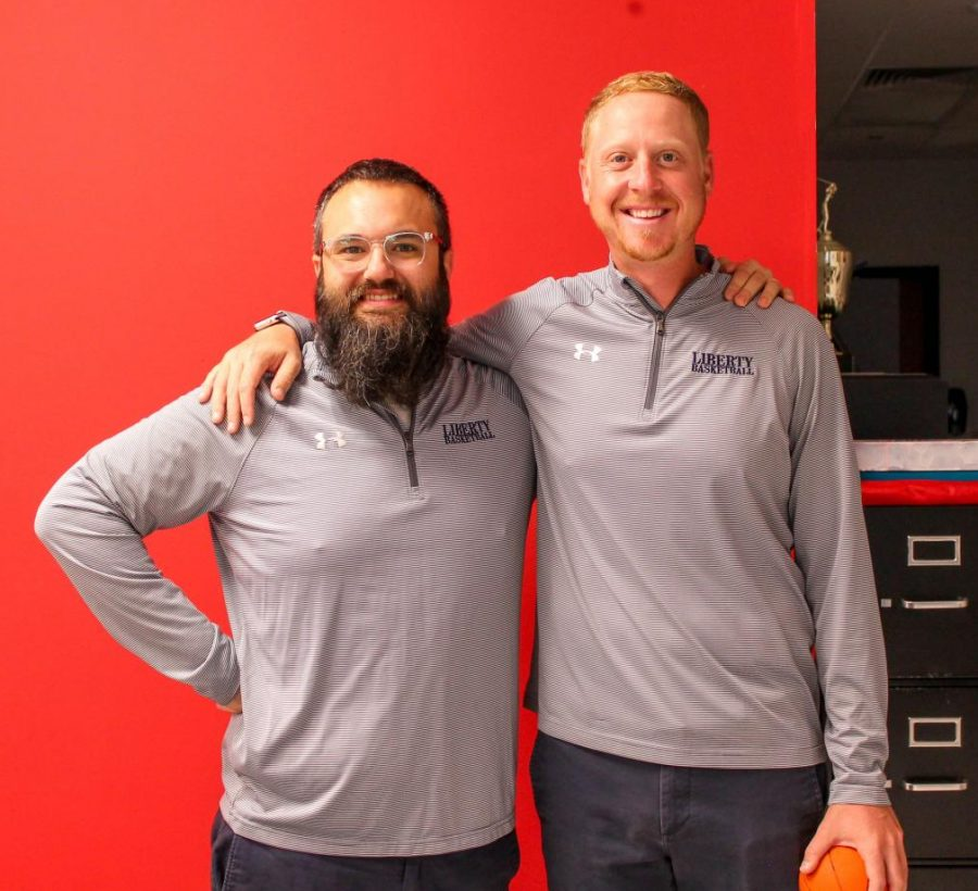 Mr. Schumacher and Mr. Cole all dressed up on twin day, Tuesday, Sept. 28.