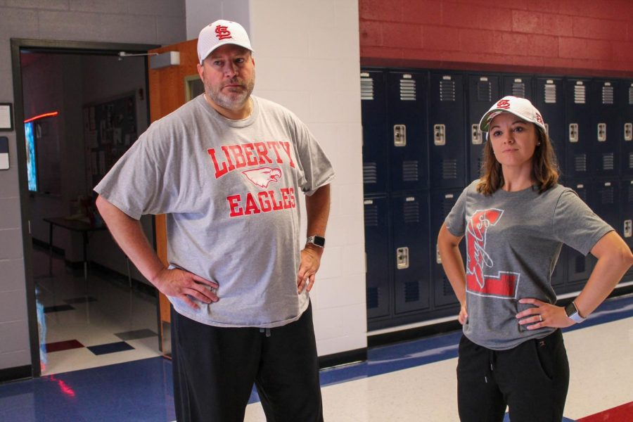 Mr. Bender and Ms. Fedderson dressed up on Tuesday for twin day during Homecoming week.
