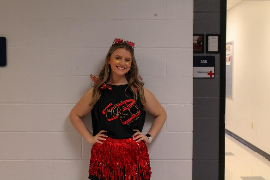 Aubrey Kress dressed up for red, black, and gold spirit day on Homecoming week.