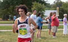 Collin Fay (12) at the Forest Park meet on Sept. 11. Fay recently set the school record with a PR of 16:41.