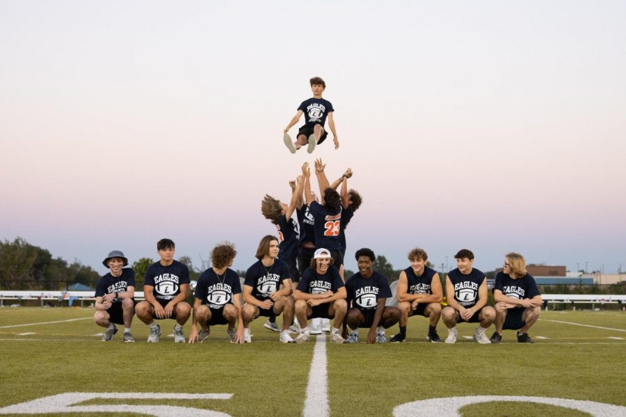 Junior boys performed many aerial stunts during their halftime performance.
