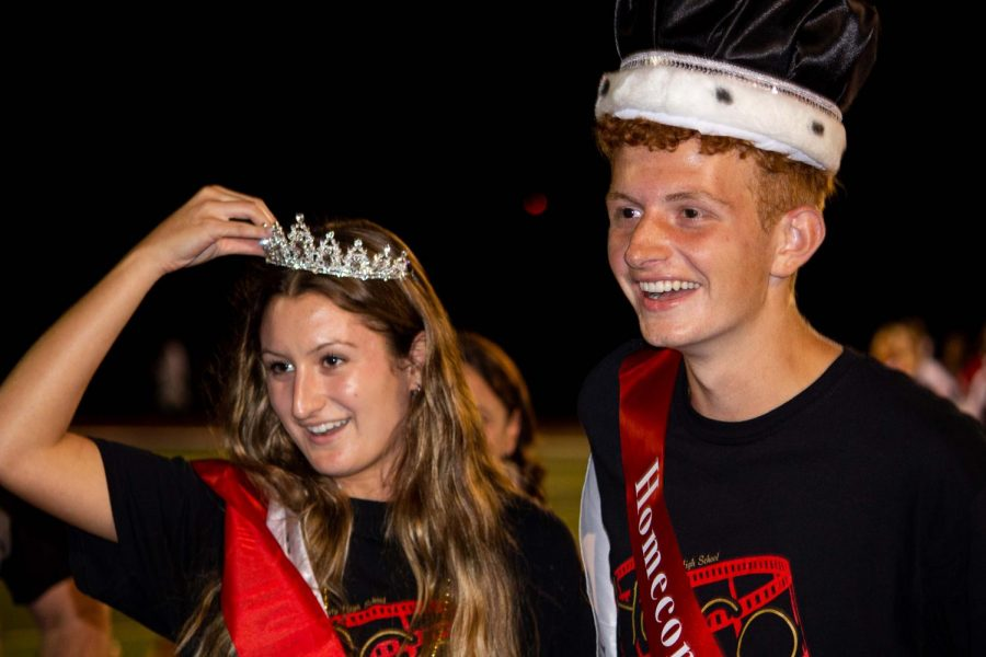 Amira+Khayyat+%2812%29+and+Patrick+ODay+%2812%29+are+awarded+crowns+during+the+homecoming+football+game+for+winning+homecoming+queen+and+king.+