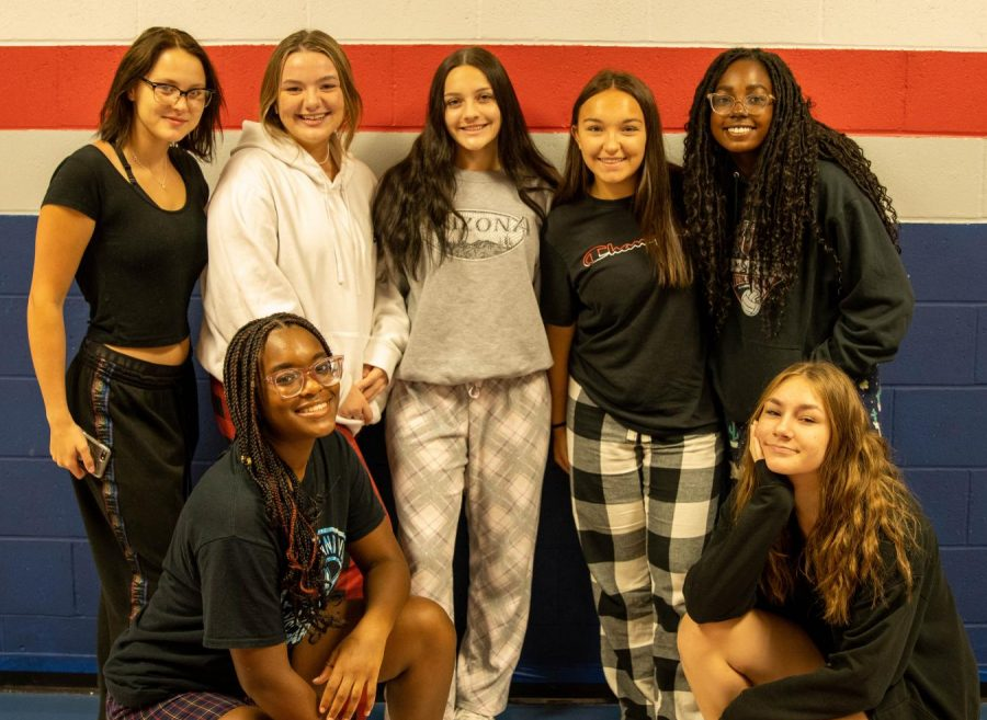 Students pose for Thursday PJ day for Homecoming spirit week.
