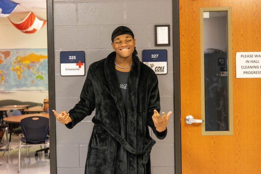 Deion Cunningham in a black robe for Thursdays PJ day.