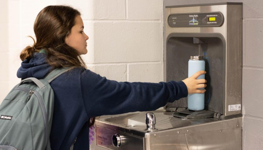 Halsey Taylors water bottle refill stations can be found in every hallway at Liberty High School.