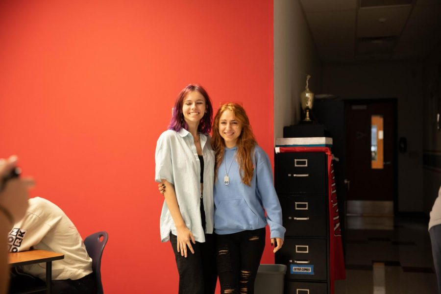 Britney Boyer and Maddie Tharp twin in black jeans for Tuesdays twin day.